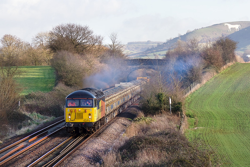 9th Jan 14:   56113 westbound to Exeter at Fairwood with 6Z28 from Westbury.  This was it's second trip of the day to Riverside Yard