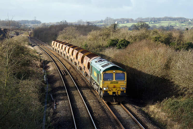 9th Jan 14:  66607 on it's way to Stud Farm from Exeter Riverside between Fairwood Junction and Westbury