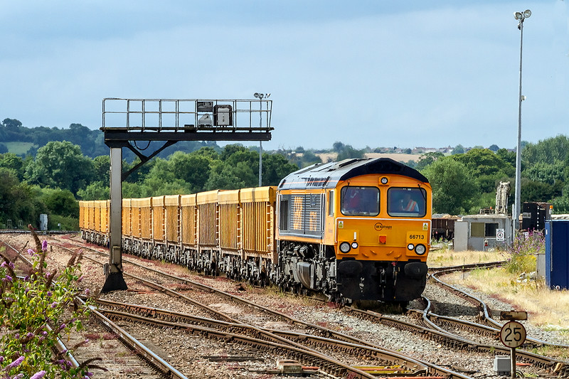 21st Jul 14:   66713 has become the regular power for 4M50 Westbury to Stud Farm to collect fresh stone for Westbury's Virtual Quarry.  It is waiting it's departure slot which today took it via the B & H due to signalling problems near Chippenham.  If I had known I would have gone to Lavington for the shot, Oh well next time perhaps