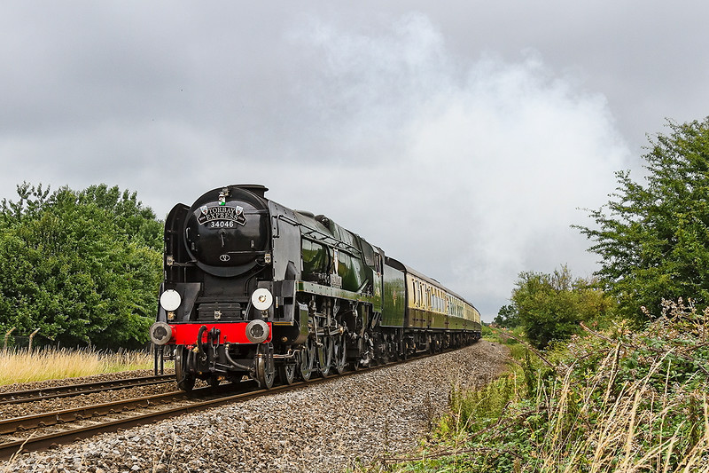 13th Jul14:  Sounding very crisp as it passes though North Bradley is 34046 'Braunton' working the Torbay Express from Bristol Temple Meads to Kingswear
