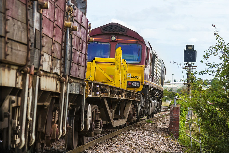 11th Jul 14:  66004 shunting a rake of departmental wagons onto the Salisbury line prior to running back down into the sidings at Westbury