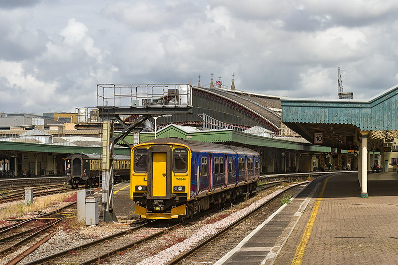 8th July 14:  150244  left Bristol Parkway working 2Y14 To Weston Super Mare at 11.12.   14 minutes later it is pictured departing from Bristol Temple meads