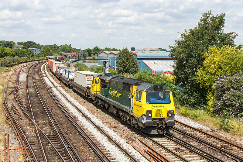 2nd Jul 14  Sweeping round the curve away from St Denys is 70014 working 4O51 from Wentloog  to Southampton