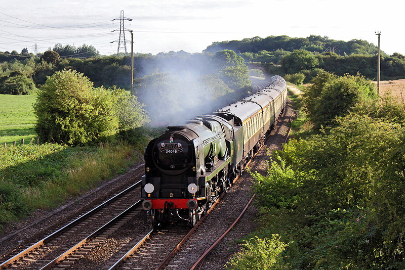 13th Jul 14:  Catching some lovely  evening light at Berkely Marsh 'Braunton' brings the Torbay Express back from Kingswear and is heading for Bristol Temple Meads