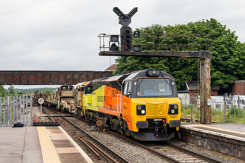 15th Jun 14:  Running 15 minutes late 6C98 bringing old LWR from Westerleigh to Westbury is powered by pioneer Colas Hog 70801