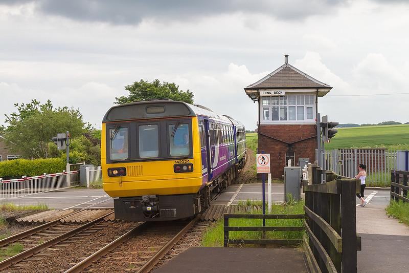 2nd Jun 14:  142024 arriving at Long Beck with 2D21 the 11.30 Saltburn to Darlington