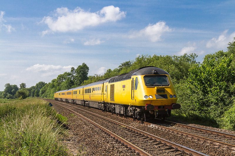 19th Jun 14:  Now returning from Westbury, passed Sherrington Lane, with 43014 'The Railway Observer' leading 1Q23 is making it's way back to Old Oak Common