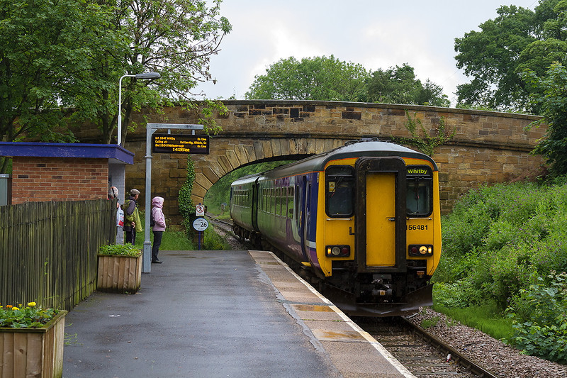 6th Jun 14:  Arriving at Great Ayton is 156841 on a very wet afternoon.  2D26 left Middlesborough at 14.04 and is going to Whitby