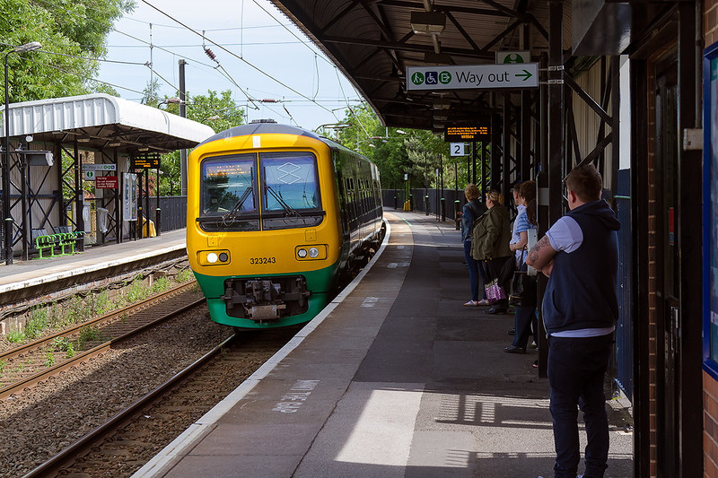 7th Jun 14: The 10.47 from Four Oaks to Redditch formed of 212243 calls at Chester Roadin Sutton Coldfield