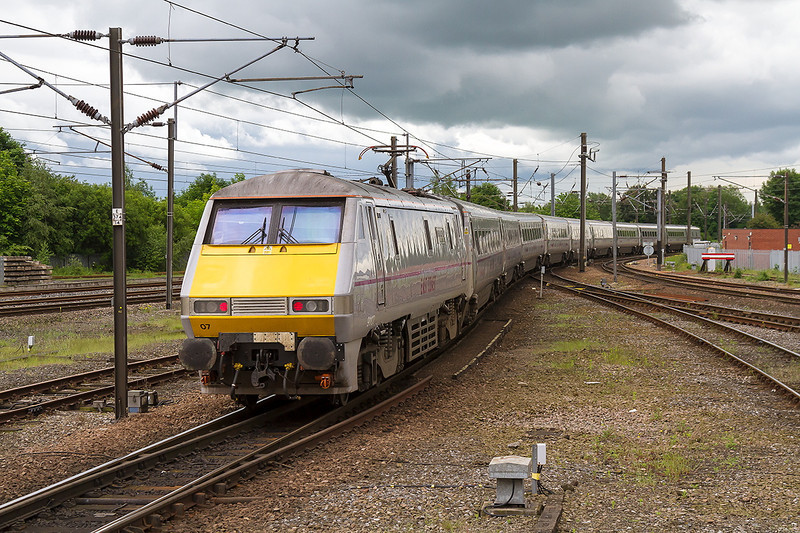 3rd Jun 14:  With 91107 providing the urge 1E10 the 10.00 from Edinburgh to Kings Cross gets away  from Darlington