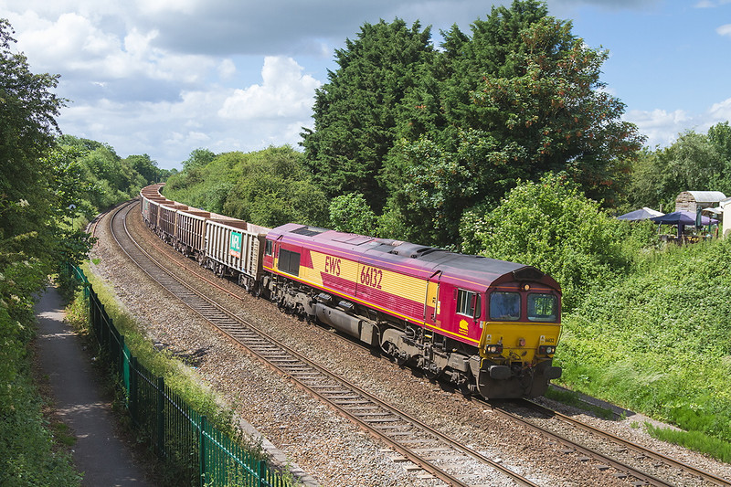 10th Jun 14:  The Tuesday only Westbury to Avonmouth with 66132 at the helm neasr Bradford Junction.  AKA Ladydown