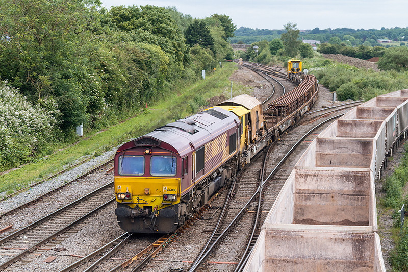 15th Jun 14:   66008 arrive back from Westerleigh with a load of old rails