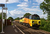 13th Jun 14:  With a long rake od JNAs in tow 70805 hammers up the 1 in 75 through Dilton Marsh working the Westbury to Eastleigh departmental,  I was hoping that it would be 70810,  nexr time perhaps