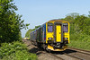16th May 14:  Too close for comfort !! 150221 forming 2O70 the 06.49 from Worcester Shrub Hill to Weymouth almost blocking thr view of 66597 bringing the HOBC up  from Fairwayer Yard in Taunton.  The location is Fairwood