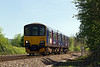 3rd May 14:  The 15.06 (2M12) Westbury to Swindon shuttle is formed of 150129.  Captured here at Hawkeridge passing the site of the  sidings that coonected with the Westbury Army stores depot