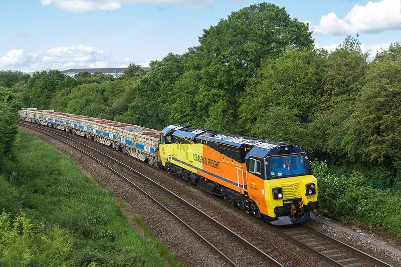 25th May 14:  Just missing the sun at Ladydown is 70808 working 6C24 from Gaer Junction in Newport to Westbury.  Only a couple of days old it is still in pristine condition