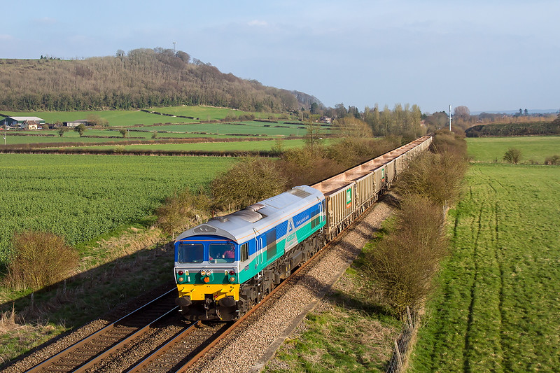 7th Apr 2015:  In stonking evening light 59002 brings 6V12 empties from Woking to Merehead  past Arn Hill in Warminster