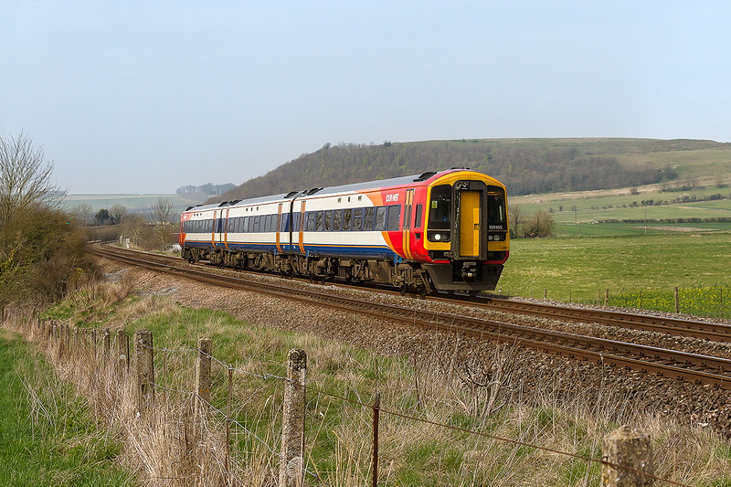 10th Apr 2015:  1O48 is the 12.52 SWT service from Bristol Temple Meads to Waterloo.  159105 left Bristol at 12.52 and is pictured at Norton Bavant
