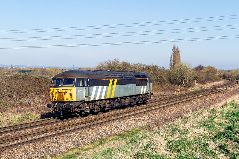 6th Apr 2015: The 0Z34 path from Eastleigh to Derby Etches Park was for the movement of 57301.  Pictured here  at Hawkeridge