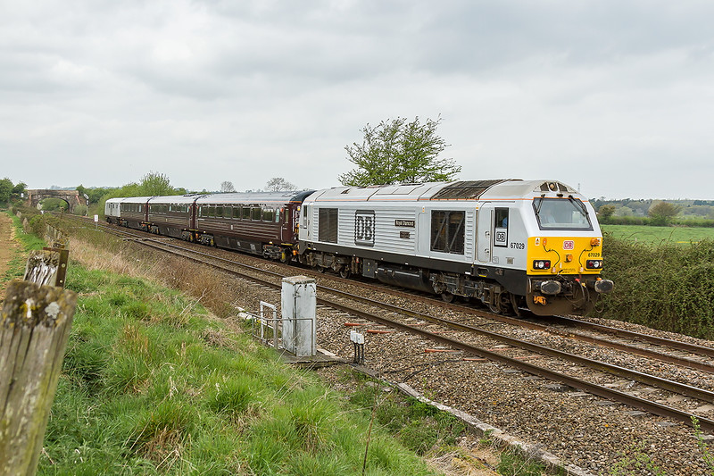 24th Apr 2015:  67029 'Royal Diamond' leads on the returning DBS Staff Jolly from Paignton to Ealing Broadway