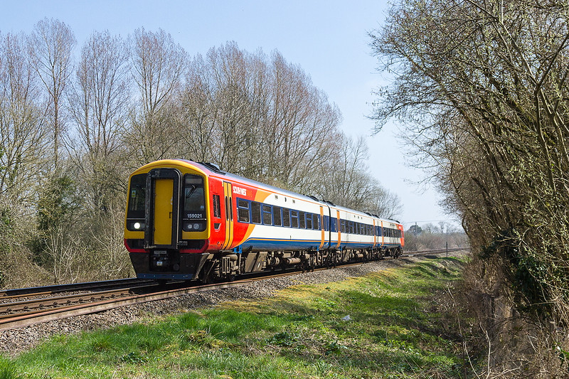 7th Apr 2015;  159021 charges through Sherringron with 1V33 the 13.52 from Salisbury to Bristol Temple Meads.  This started as part of 1L33 the 12.20 from Waterloo to Exeter but at Salisbury it was detached to form this service