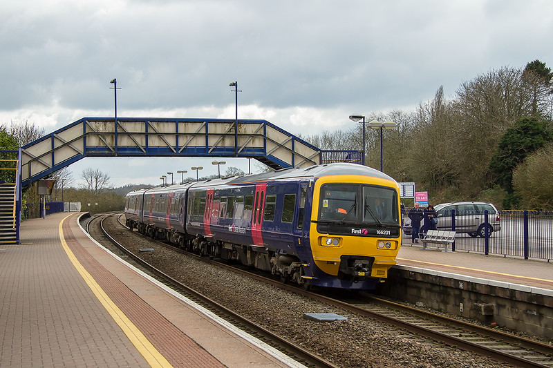 4th Apr 2015:   I was hoping that 166201 would show Westbury on the destiation blind but 'N'o it was blank.  With Reading closed to main line services  FGW were using Turbos as a shuttle from Reading to Westbury.  Here passengers could board West of England services which were running from Waterloo via Salisbury and Westbury over the Easter period.