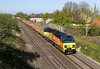 22nd Apr 2015:  Passing the site of Steventon Station is 70802 on the point ot 6M50 the daily departmental from Westbury to Bescot