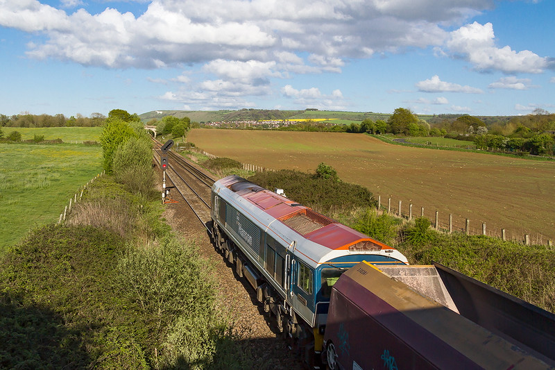 29th Apr 2015:  Shown as the 17.19 Merehead to Colnbrook it is powered by 59103 and it is on time when it stopped at the signal.  28 minutes later is arrived at Westbury and went no further.