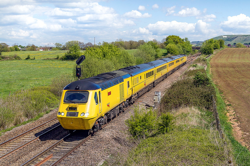 30th Apr 2015:  Part of the day's itinary for 1Q24 was from Westbury to Weymouth.  Captured at Fairwood with 43014 'John Armitt' on the front and 43062 at the rear