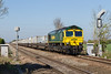 22nd Apr 2015;  Taken from the Causeway crossing in Steventon is 66588 working 4L31 to from Bristol Freightliner Depot tpoFelixstowe