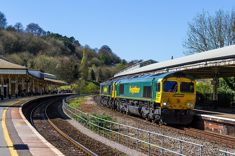 TC-150418-04-66571+66554 run through Bath Spa with a loadless Wentloog to Southampton.  Reading engineering work caused a diversion down the Wylye Valley