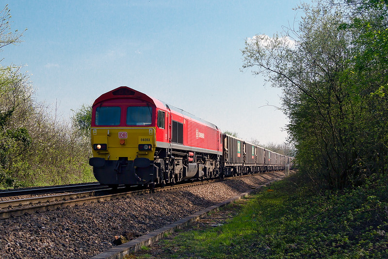 20th Apr 2015- :  59204 is running through Heywood as it works to Oxford Banbury Road from Whatley Quarry