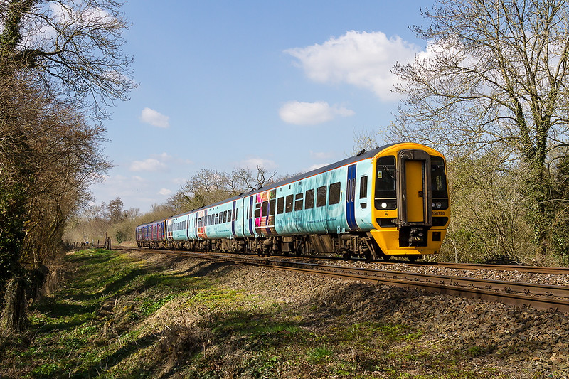 6th Apr 2015:  1F17 the 12.30 from Cardiff to Portsmouth Harbour is formed of 158798 in Gunwhark Quays livery and 150248  pictured hare as it runs through Sherrington in the Wylye Valley.  As it was running late the service was terminated at Fareham