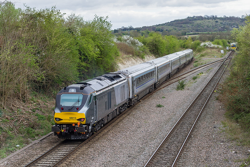 22nd Apr 2015:  Sounding very healthy at Princes Risborough as it hits the climb to Saunderton with 1H69 the 15.55 Birminghan Moor Street to  Marylebone