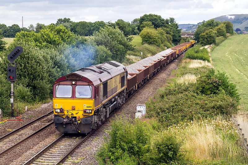 1st Aug 2015: On the first day of the Avon Valley closure due to Electrification works 66012 leaves Westbury with 6W42 the 16.46 to Bath Spa via Taunton
