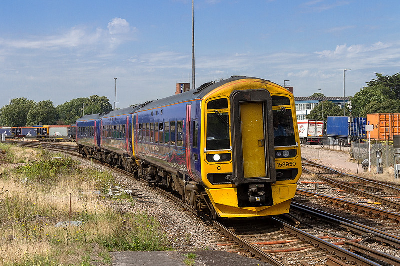 22nd Aug 2015:  159950 is captured entering Southampton Millbrook station when working 1F51 the 11.52 from Swindon to Portsmouth Harbour