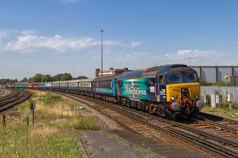 22nd Aug 2015:  Still carrying the 'Lady Penolopy' Name plate but now branded' 20 yeard of Direct Rail Services' 57307  brings 'The Bournemouth Flyer' ECS  though Millbrook  on it's way to Eastleigh to stable the set