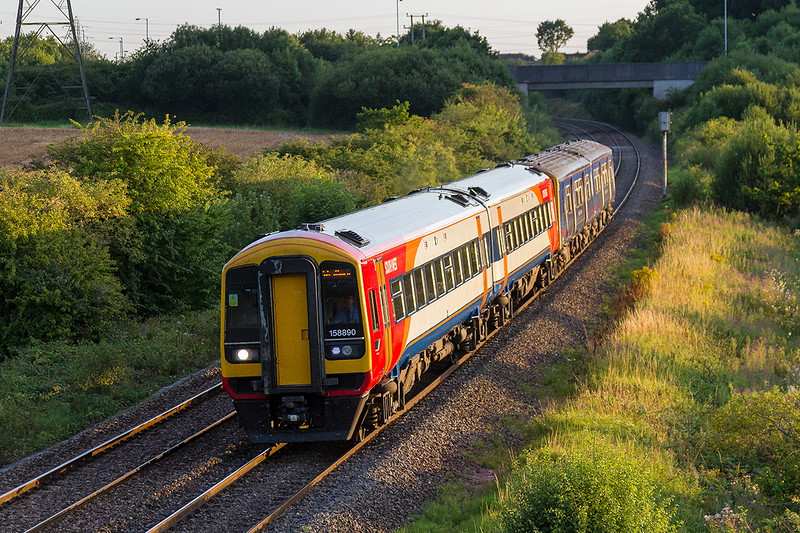 8th Aug 2015:  A welcome surprise was to find that hired in SWT 1588890 was working on 2V93 the 18.28 Weymouth to Westbury.  Pictured at Berkley Marsh