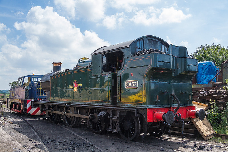 8th Aug 2015: Not in the ideal position to be photographed Collett 0-6-2T 5637 that was built in 1925 still looks good in late BR livery