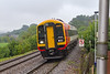 31st August 2015:  Another rainy day sees 159020 at Dilton Marsh with 1V22 the 10.52 from Salisbury to Westbury