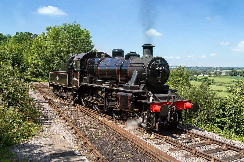 8th Aug 2015:  \on a beautiful day 46447 runs round at Mendip Vale on the East Somerset Railway