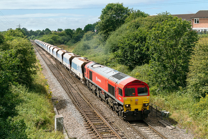 4th Aug 2015:  At Clink Road Junction in Frome 59206 comes off the 'Cut Off' with  6B12 from Merehead to Wootton Bassett in tow