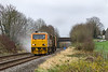5th Dec 2015:  Eastleigh RHTT turn 3S80 in the hands of DR98964-98914 includes covering the  line between Salisbury and Warminster.  It is Captured as it runs north though Wylye.  The old Wylye Station that was closed on the 19th September 1955 was beyond the bridge