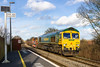 29th Dec 2015:  In possibly my last sunny picture of the year?   66559 is seen from the platform of Dilton Marsh Halt.  The load of Colas Crane 78226 and a long rake of loaded MHA & MTAs is being taken from Hinksey Yard to Eastleigh.  This normally runs via Reading as 6O26