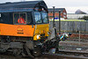 10th Dec 2015:  A close up of the 'Fugro RAIL_MAP' equipment on the front of 66846