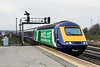 17th Dec 2015:  The latest GWR Power car to be rebranded is 43148.  Now sporting 'Bristol 2015  European Green Capital' livery is arriving at Westbury when working 1A77 the 05.41 Penzance to Paddington.  43136 is at the rear