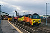 10th Dec 2015:  With the light improving the iso is down to 3200 for 70807 departing  on 6M50 to Bescot.  The only load is 59204 presumably on it's way to Toton for some attention.  150104 waits with a service to Bristol Temple Meads.  59204 actually went to Crewe