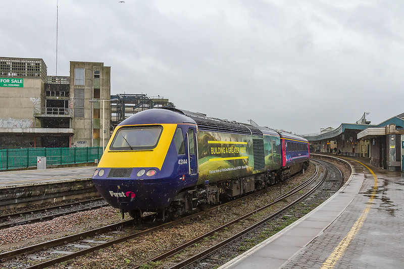 19th Feb 2015: Despite the light rain blowing in a strong wind my first sight of 43144 in it's new  'Building A Greater West' livery just had to be recorded for posterity. It is s 'B' awful scheme  in my opinion