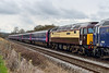 2nd Feb 2015:  57312 'Solway Princess' tucked behind 57602 'Restormel Castle' on5Z40 the Sleeper ECS tp OOC.  Having pictured 312 in Virgin and Network Rail liveries it was good to see it in Chocolate and Cream.