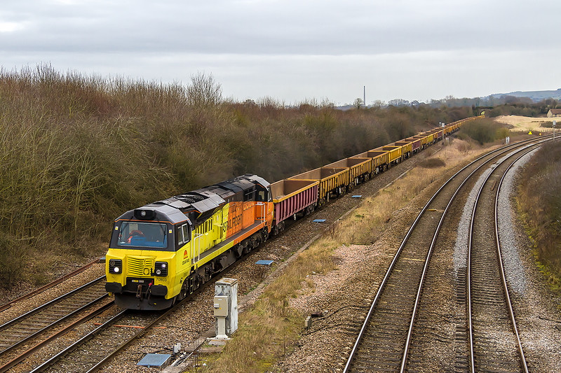 5th Feb 2015:  Approaching Fairwood Junction is 70803 with a rake of empties heading from Westbury to Exeter(6C23)